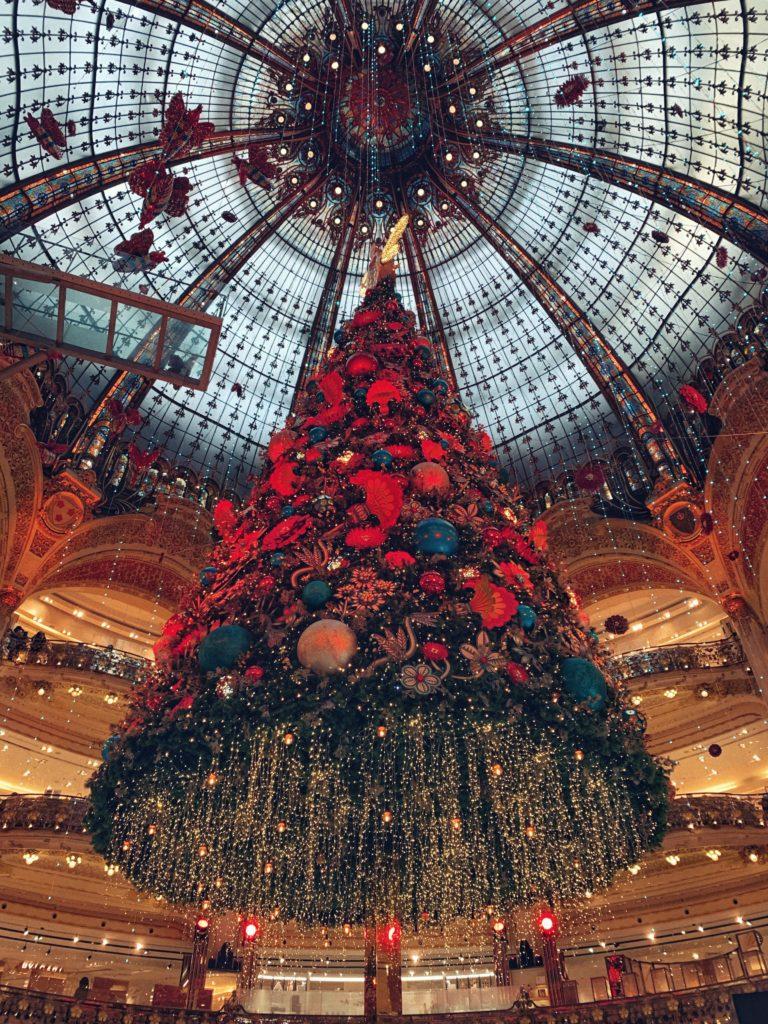 Christmas Tree on display at Galleries Lafayette PARIS