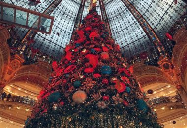 Christmas Tree on display at Galleries Lafayette PARIS