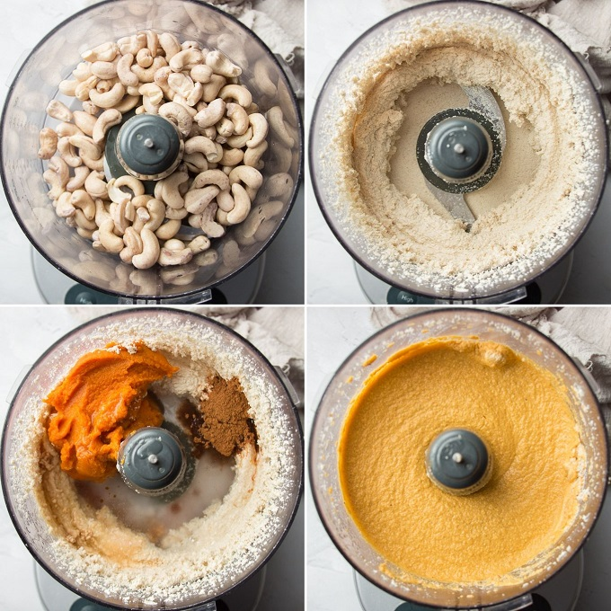 Collage Showing Stages of Blending Batter for Mini Vegan Pumpkin Cheesecakes