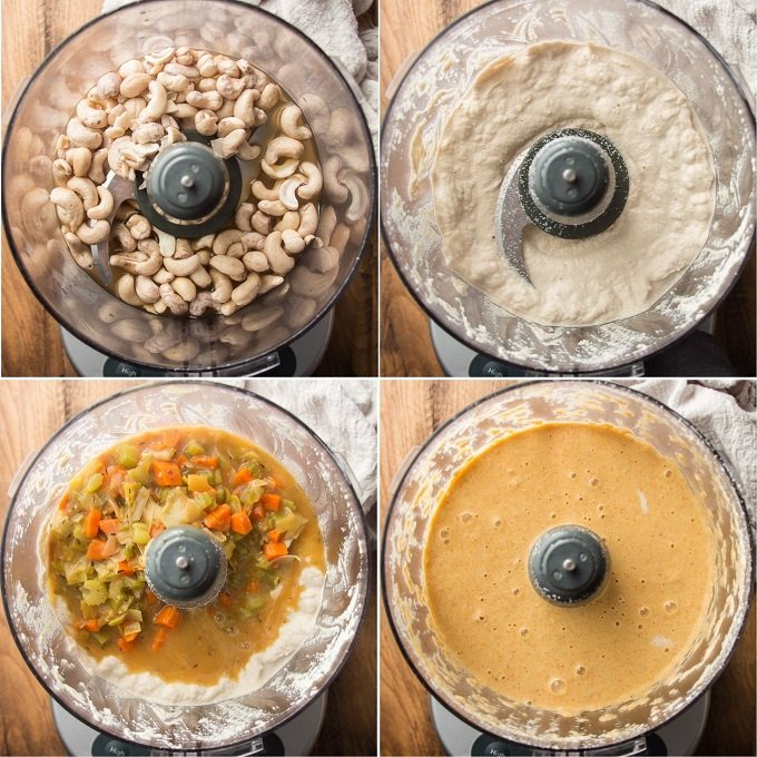 Collage Showing Steps 4-8 of How to Make Vegan Beer Cheese Soup: Place Cashews in Food Processor, Blend, Add Veggies and Blend Again