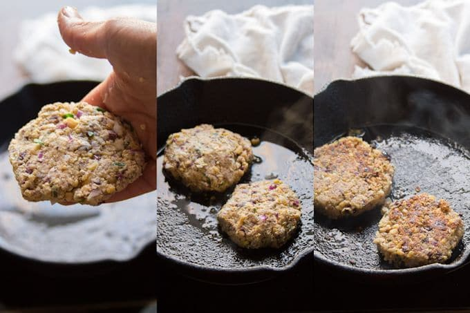 Collage Showing Steps for Making Greek Chickpea Burgers: Shape Patties and Cook On Each Side in Olive Oil