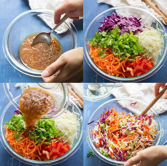 Collage Showing Steps for Making Asian Slaw: Mix Dressing, Prep Veggies, Add Dressing to Veggies and Mix
