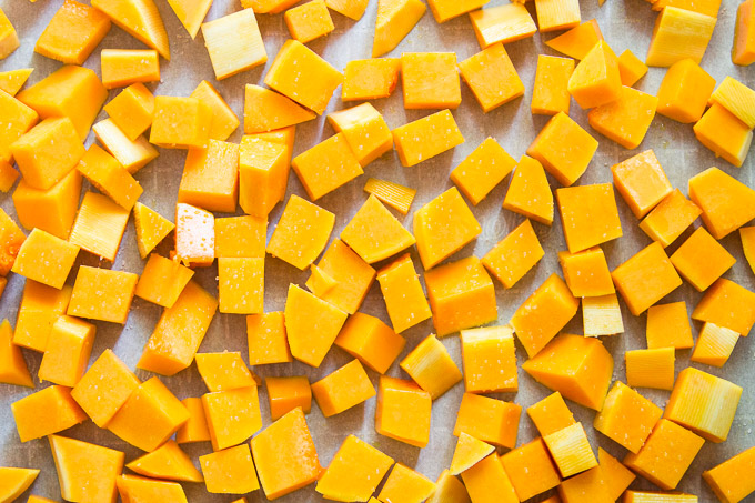 Diced Butternut Squash on a Baking Sheet