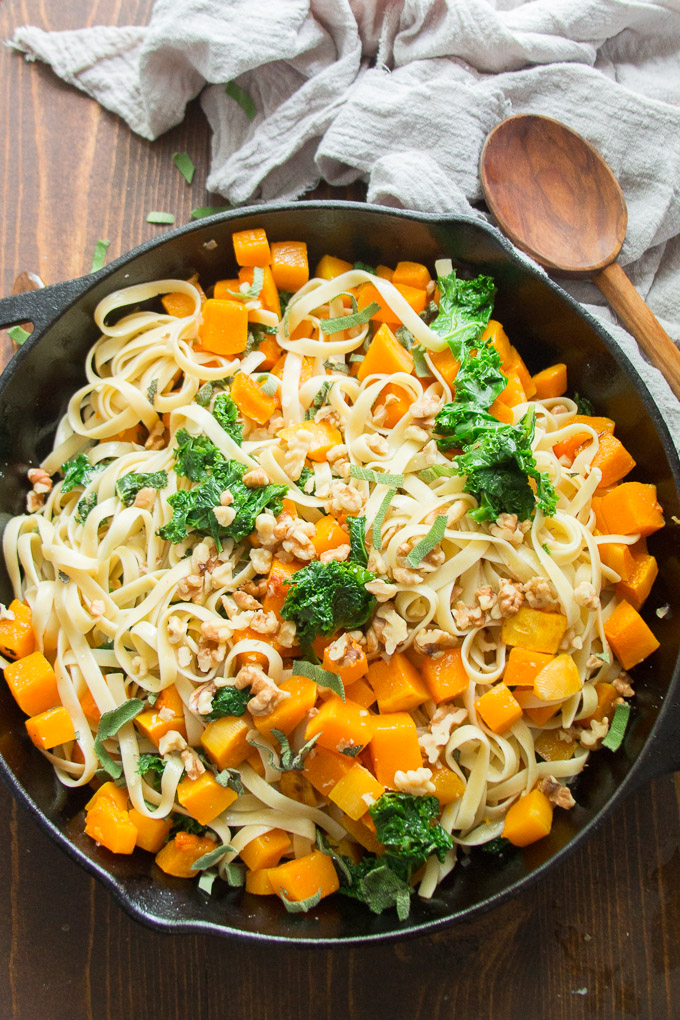 Butternut Squash Pasta in a Cast Iron Skillet with Wooden Spoon