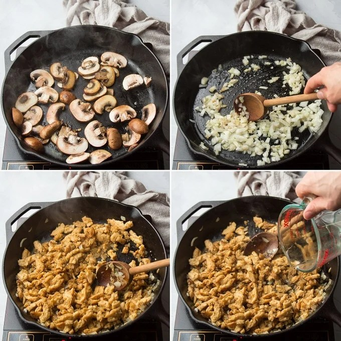Collage Showing Steps for Making Vegan Chicken Tetrazzini: Cook Mushrooms, Cook Onions, Cook Soy Curls and Add Wine