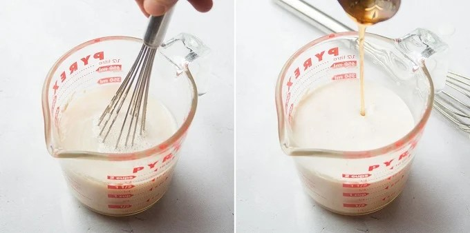 Collage Showing Steps 1 and 2 for Making Whole Wheat Pizza Dough: Whisk Yeast and Sugar into Water, then Add Olive Oil, Salt and Maple Syrup