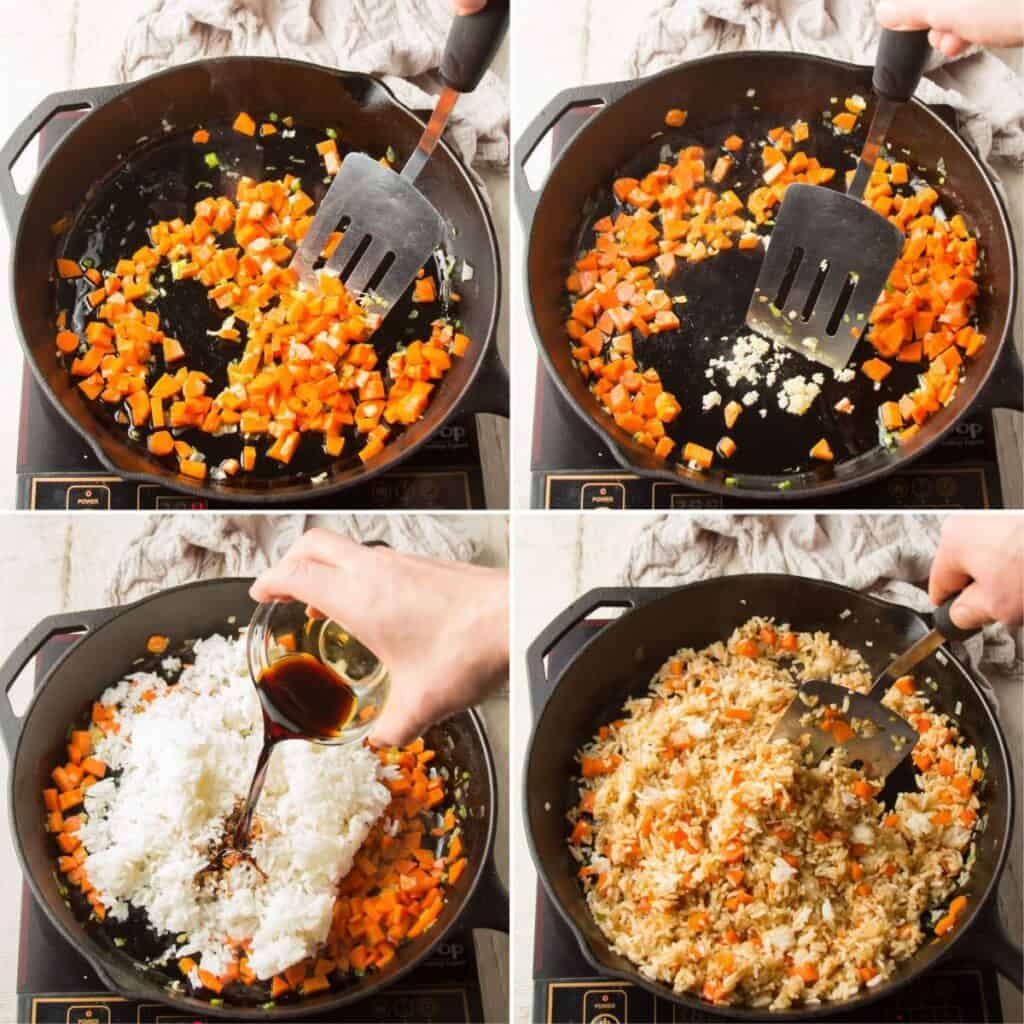 Collage Showing First 4 Steps for Making Vegan Fried Rice: Cook Carrots and Scallions, Add Garlic, Add Rice and Sauces, and Stir-Fry