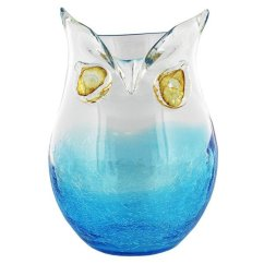 Christmas Dining Chair Covers Uk Hanging Kmart Large Blue & Clear Glass Owl Vase | Connollys Homestyle York