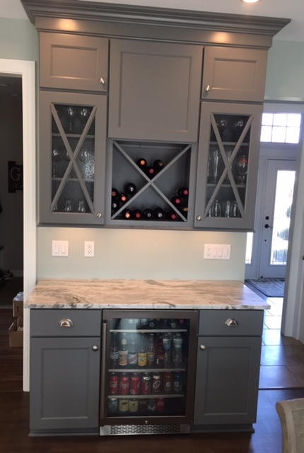 kitchen remodeling projects how much does it cost to refinish cabinets redesign connor design gray bar area cabinetry with glass doors built in refrigerator