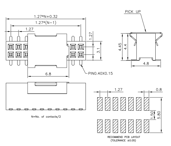 Dual Row SMT 1.27mm Pitch 20P Female Header Connector