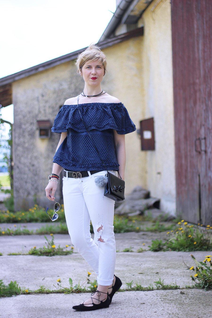 Schulterfrei, Bluse, Cecilie Copenhagen, destoyed Jeans, Herrlicher, Frühling, Schnürballerina, S. Oliver, Sence Copenhagen