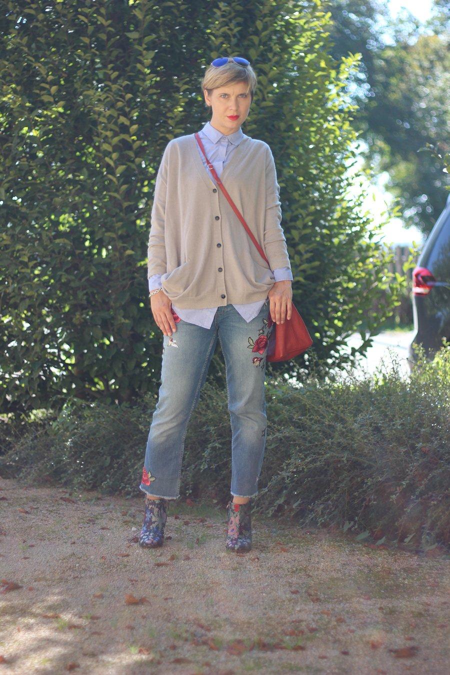 Cardigan, neyo, Schurwolle, Jeans, Zara, Ankleboots, bestickt, casual, friday, herbstlook
