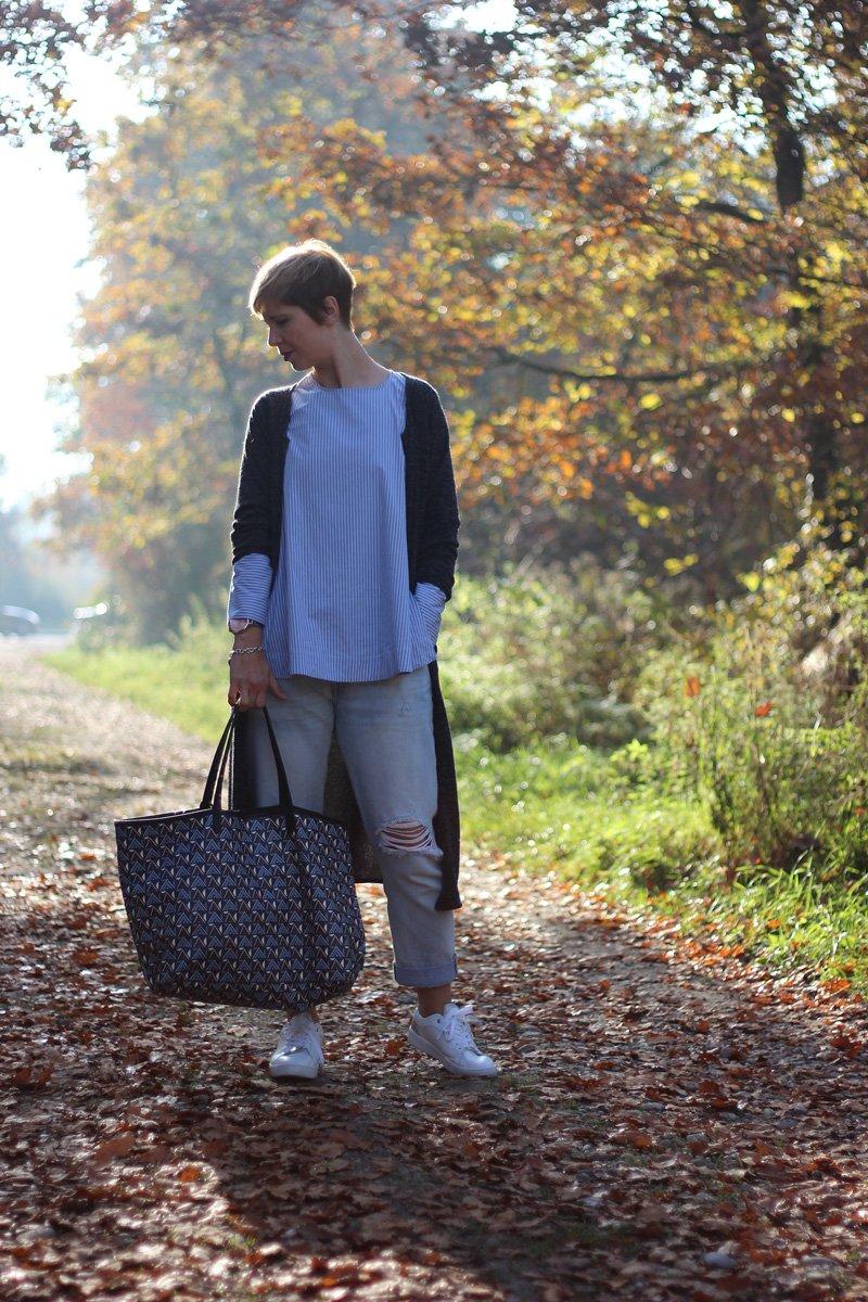Boyfriendlook, long cardigan, destroyed jeans, levis501, sneaker, bugatti, oversized schal, longbluse