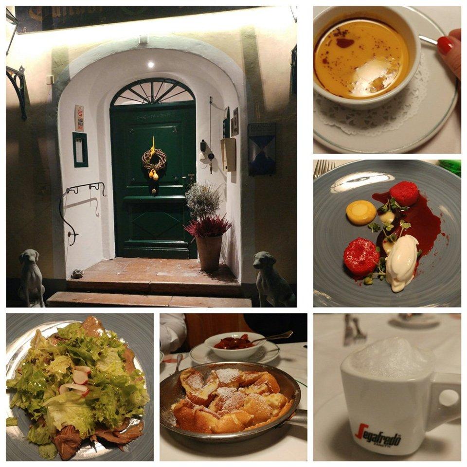 Salzburg, Sightseeing, Ausflug, Wochenende, Conny Doll, Sehenswürdigkeiten, Schlosswirt zu Anif, Collage, Menue