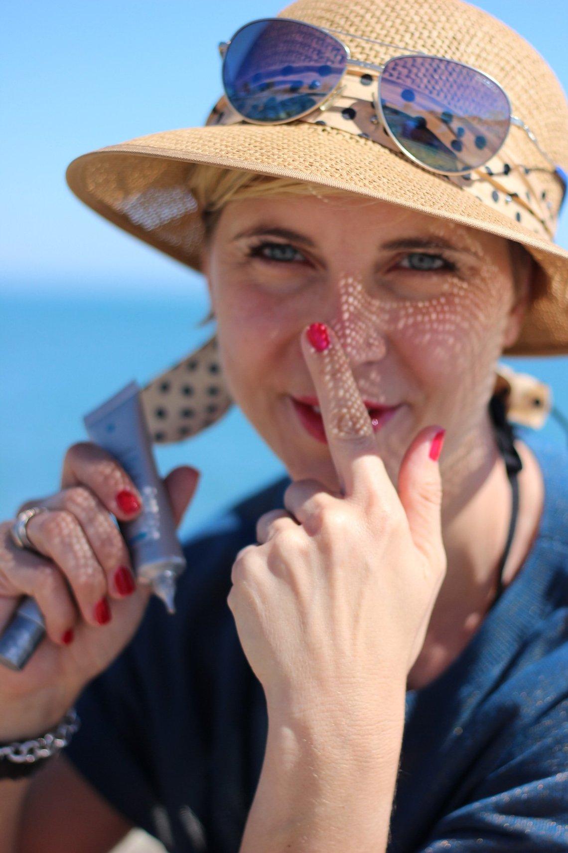 Sonnschutz fürs Gesicht, Conny Doll, Sonnenhut, Blau, Meer