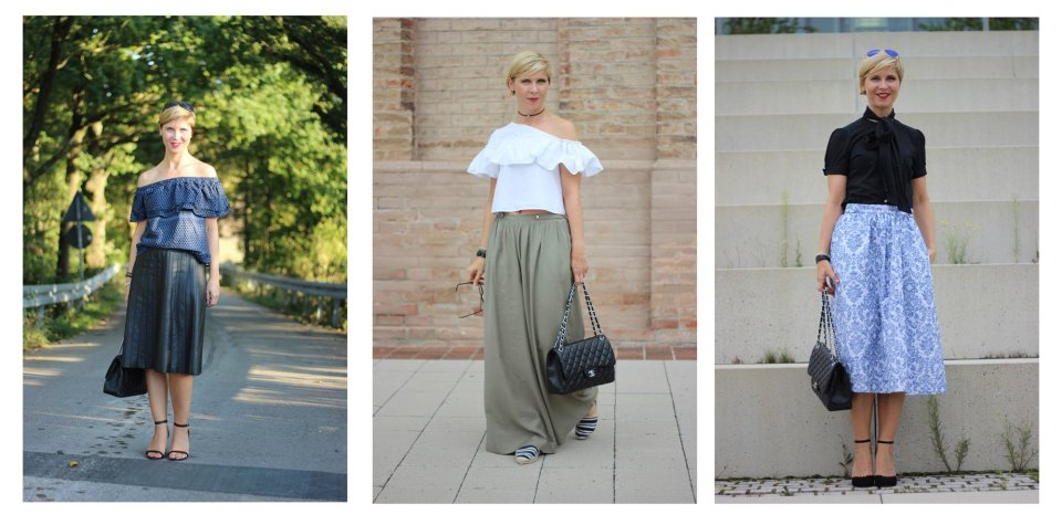 Carmenbluse, Outfitanalyse, wie style ich schulterfrei, collage, outfitvergleich, modeflüsterin, conny doll,