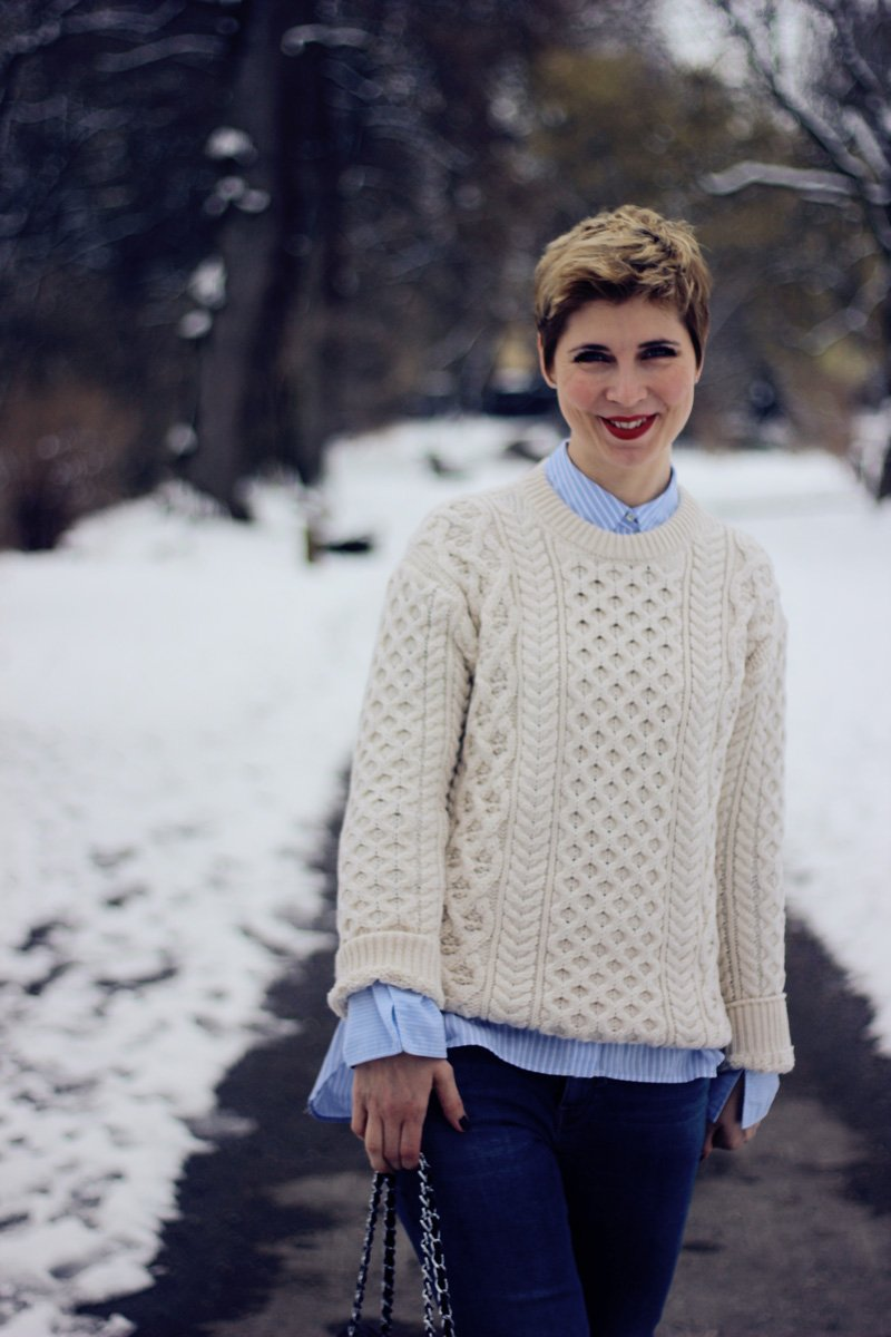 Conny-Doll-Lifestyle: Aran-Sweater, Irelandseye, Denim, Lagenlook, Lederjacke, Winter