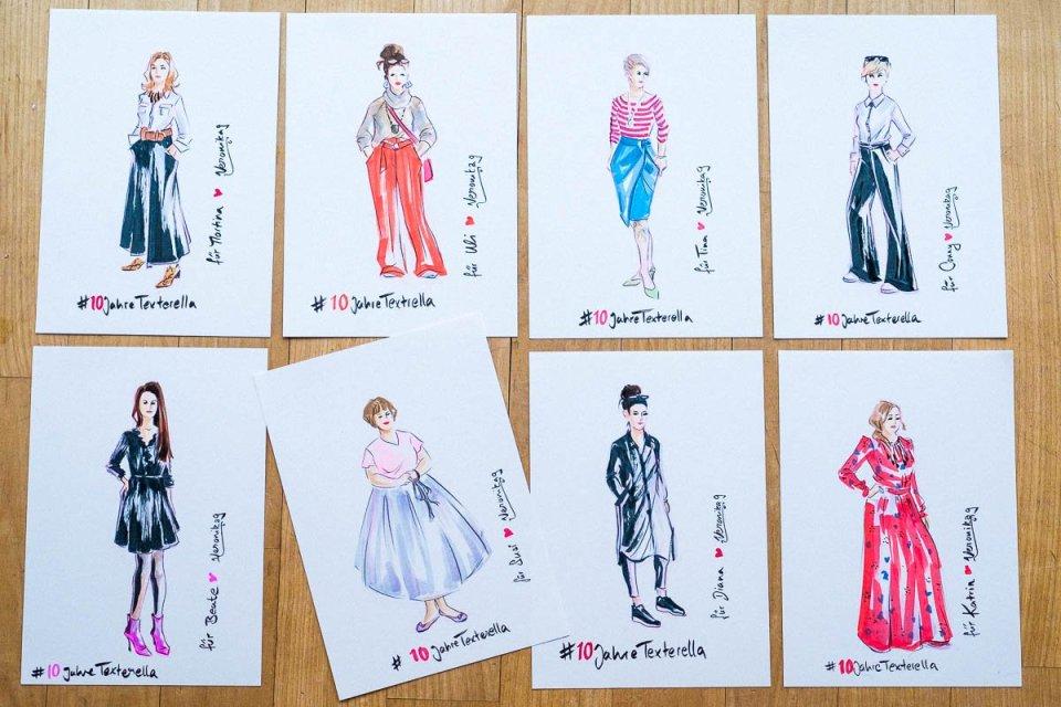 conny doll lifestyle: Ein Bloggeburtstags-Netzwerk-Fest - Danke Texterella, Blogjubiläum, Illustrationen von Veronika Gruhl