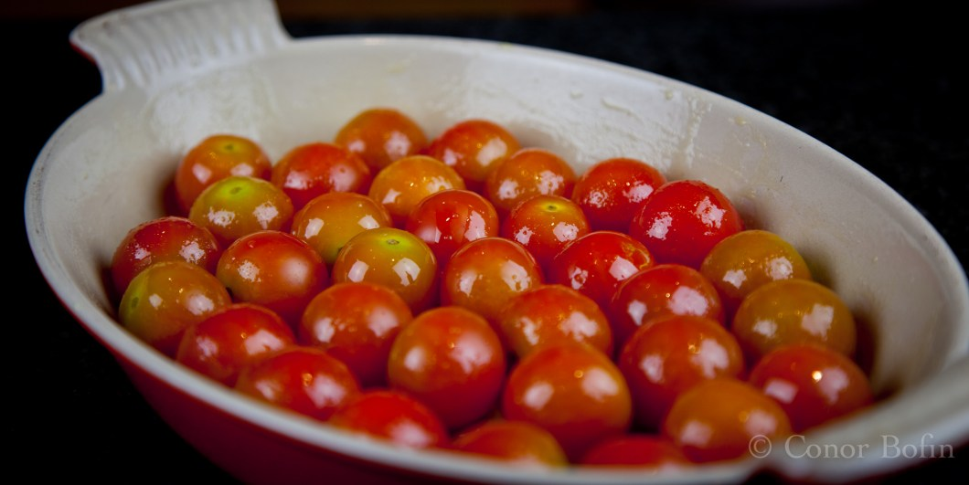 I tossed these little tomatoes in olive oil and roasted them for 20 minutes.