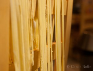 Pasta hanging on a chair