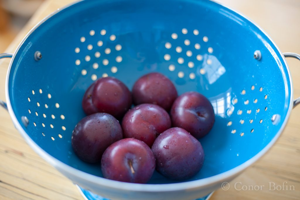 I could not resist showing you this one. Plums in my new colander. The handles fell off the old one.