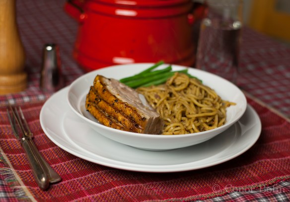 Glorious pork served with delicious noodles. A fantastic combination.