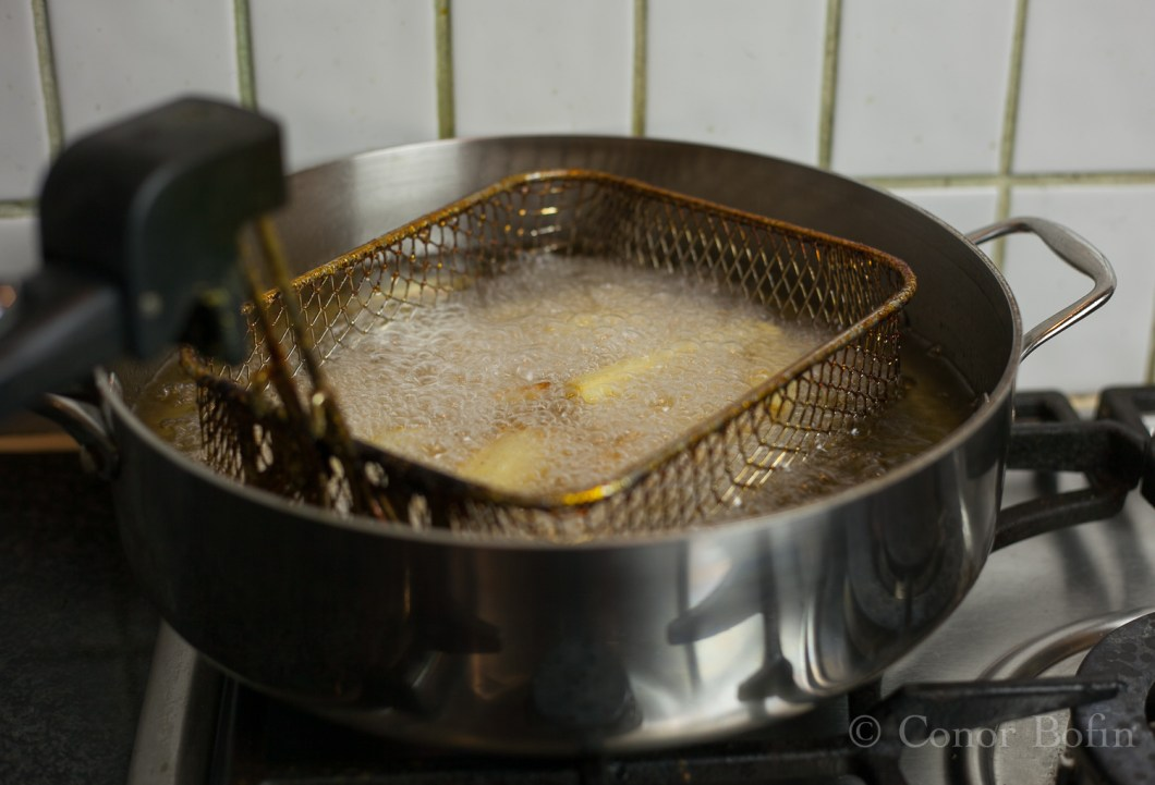 My improvised chip pan. That's a whole other story that I don't think I will tell.
