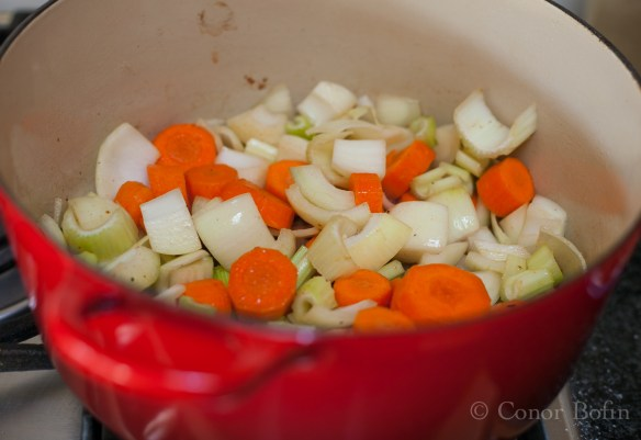 The basis of any good casserole, onion, celery, garlic and carrot.