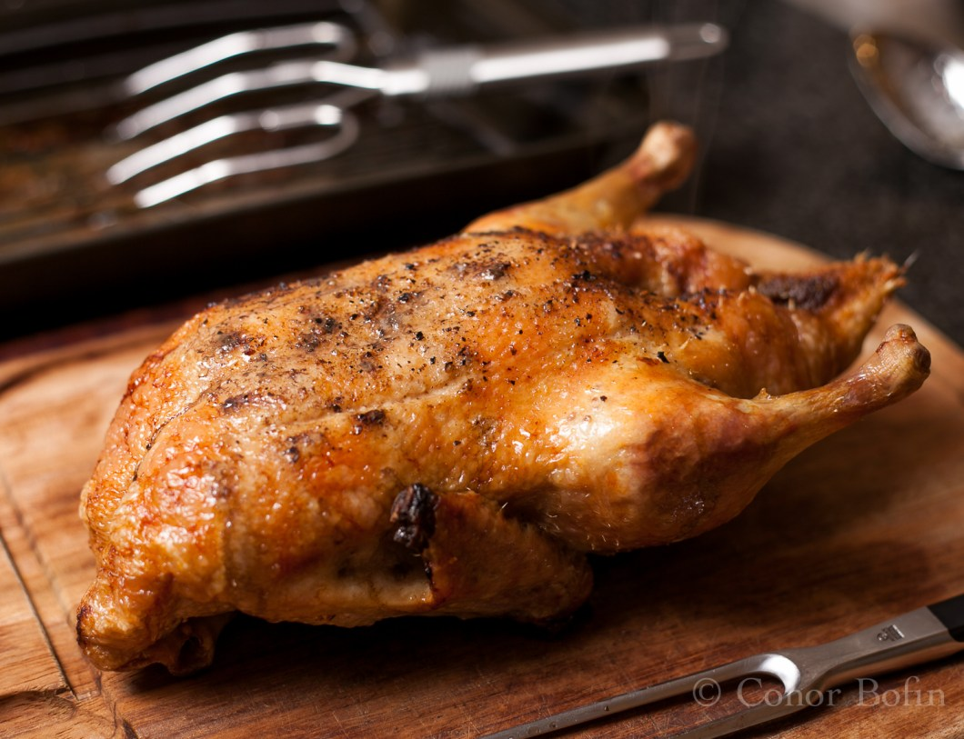 The cooked duck, resting after it's time in the oven. Tasty, eh?