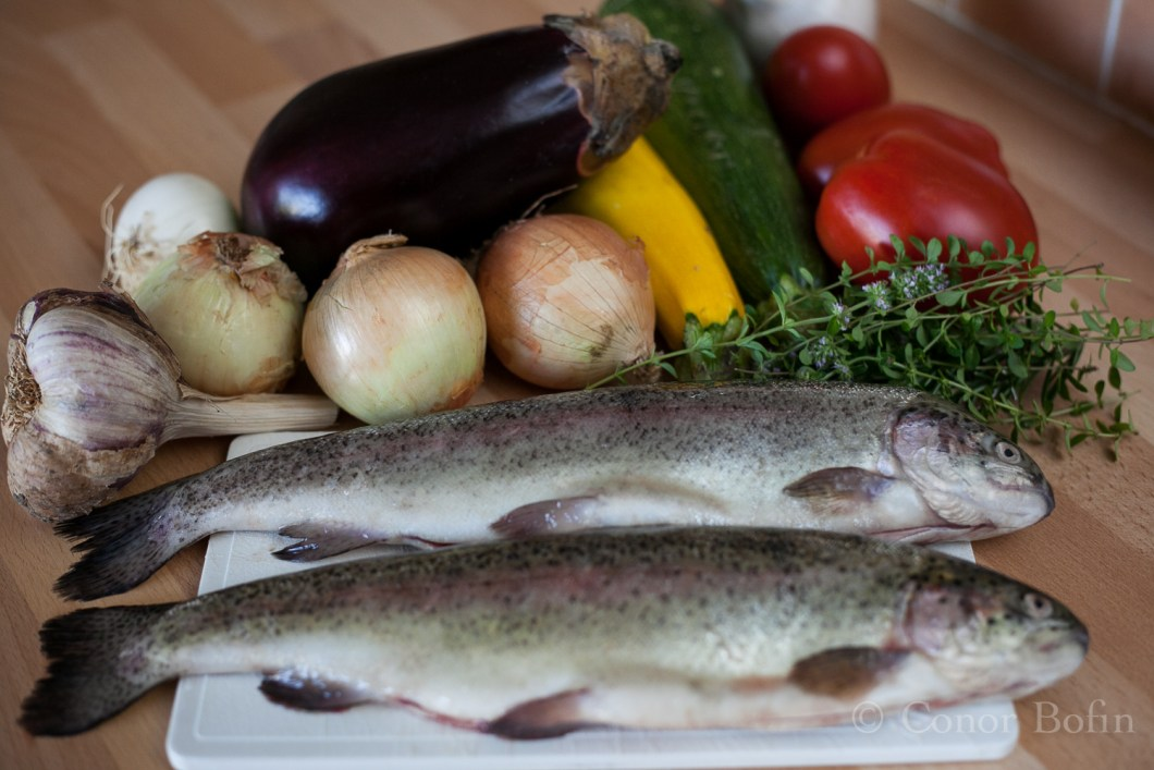 A comprehensive ingredients photo including the disputed trout.