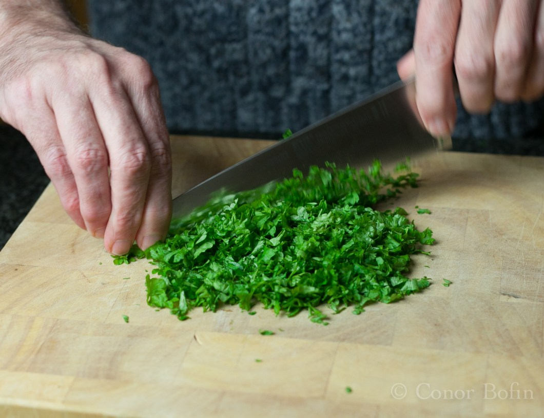 When I say a big handful, I mean a BIG handful of parsley.