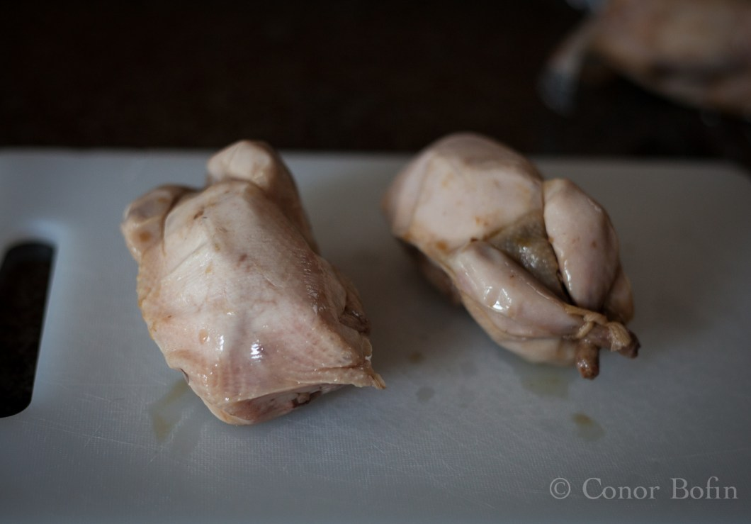 The poor little quail look a bit odd when they come out. Cooked yet not browned.