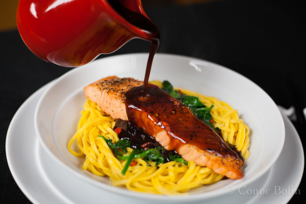Salmon with teriyaki sauce