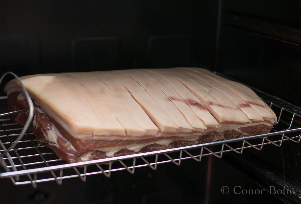 Bacon loin in a Bradley smoker