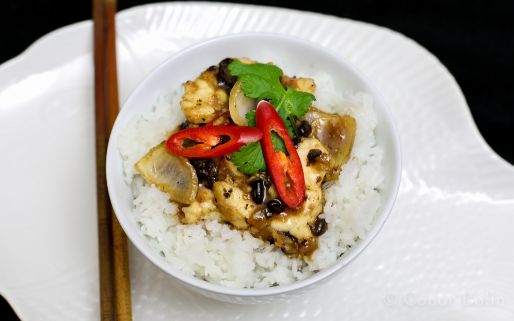Monkfish with Black Beans