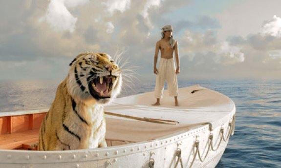 Suraj Sharma and tiger in Life of Pi.