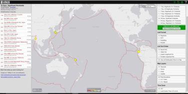"""Figura 1: Mappa degli epicentri dei terremoti significativi degli ultimi 30 giorni, registrati nell'area conosciuta come """"la cintura di fuoco del Pacifico"""". In giallo i terremoti dell'ultima settimana (fonte http://earthquake.usgs.gov)."""