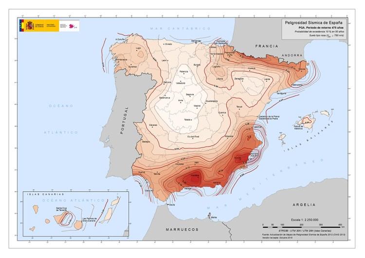 Carta della pericolosità sismica della Spagna