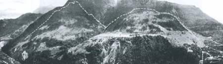 Il versante settentrionale del M. Toc (foto E. Semenza) da http://www.vajont.net/page.php?pageid=PGDET00R