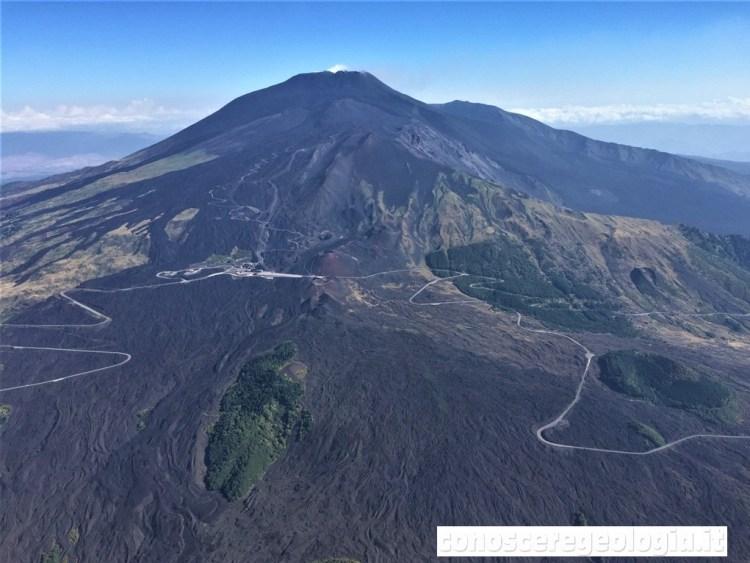 Figura 1 - Il vulcano Etna ripreso da Sud, con in primo piano il campo lavico dell'eruzione del 2001 e la strada che dal Rifugio Sapienza, al centro, porta a Zafferana Etnea, sulla destra. (Foto di Sonia Calvari)