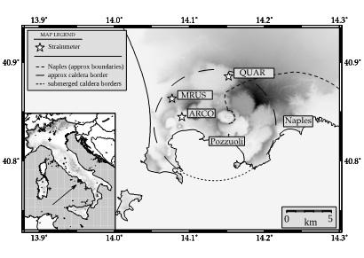 Figure 1: la caldera dei Campi Flegrei, con indicati gli strumenti utilizzati per lo studio