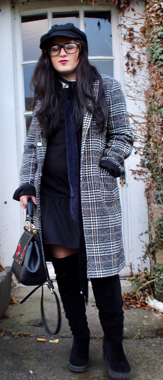 Checked Coat Girl Boss Style 2