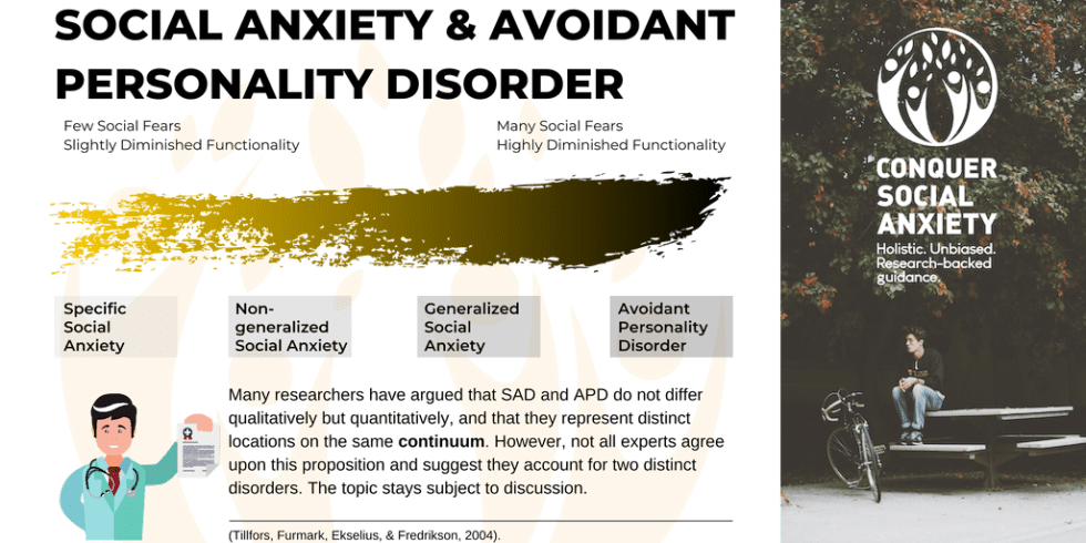 It has been argued that avoidant personality disorder is the most extreme form of social anxiety.