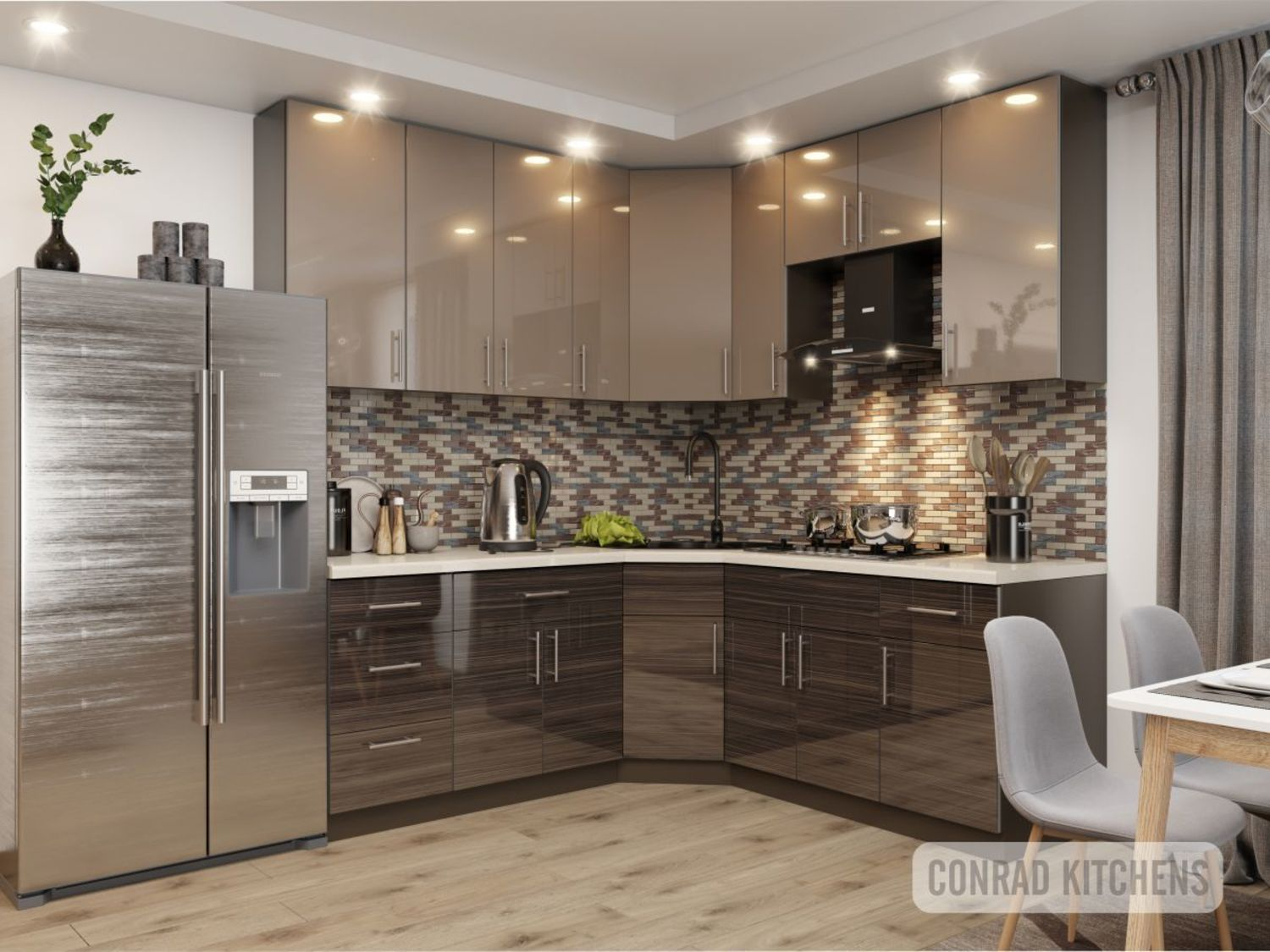Brown Zebrano & Latte Acrylic Kitchen Choose Kitchen Cabinets