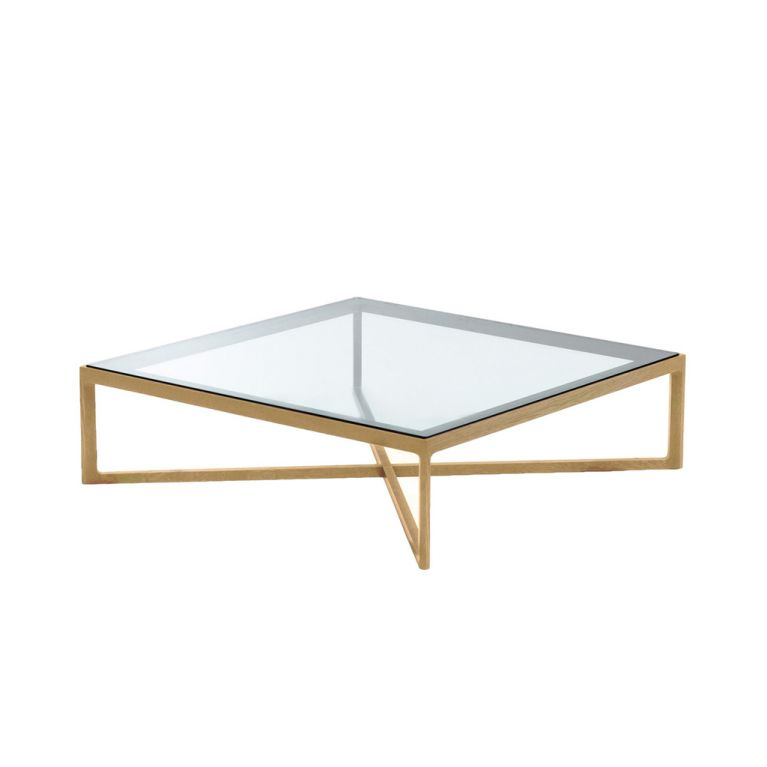 table basse carree chene naturel et verre