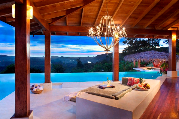 Enjoy beautiful mountain top ocean views from your infinity pool at Finca Austria, Nosara, Costa Rica