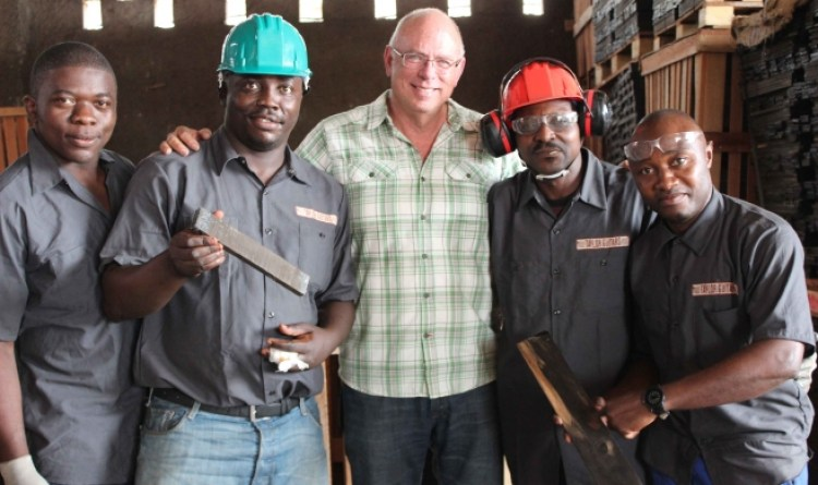 Bob Taylor & Team at the mill in Cameroon.
