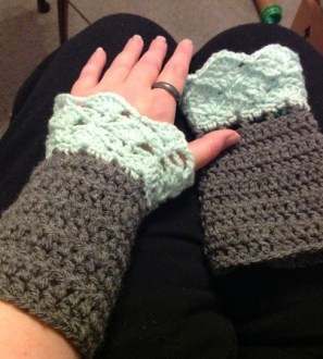 Pretty crocheted wrist warmers