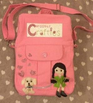 Conscious Crafties Logo Doll Pink Laptop Bag Rucksack
