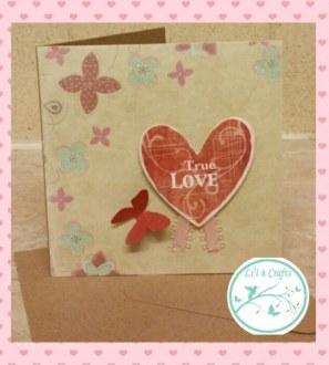 True love butterfly valentines card. Blank inside
